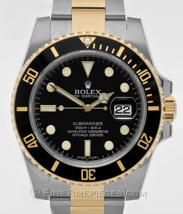rolex submariner date stahl gold ref 116613 ln. Black Bedroom Furniture Sets. Home Design Ideas