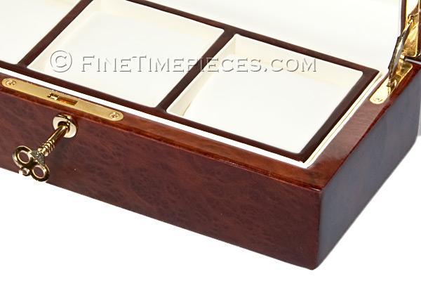 uhrenbox f r 3 uhren edles california redwood holz lederausstattung ref l12b26h8 3 rw. Black Bedroom Furniture Sets. Home Design Ideas