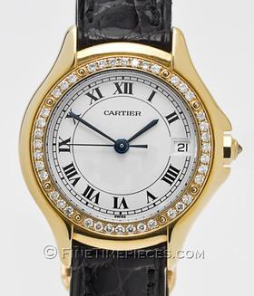 CARTIER | 18 kt. Gold Damenuhr Cougar mit Diamantlünette | Ref. WF 800151